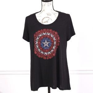 Marvel lace short sleeves black tee, size XL